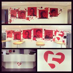 Lokatie 1 & 2 + balie logo bij #5hart #Nieuwegein staan erop, vandaag naar Velp voor een nog versie met nog meer rood! #muurschilderingen.EGD #vijfhart