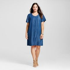 Women's Plus Size Stud Detail Chambray T-Shirt Dress Blue 22W - Spenser Jeremy : Target