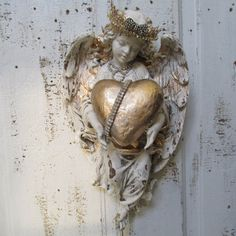 Angel statue wall hanging home decor shabby cottage off white cherub holding a romantic heart distressed decoration anita spero design