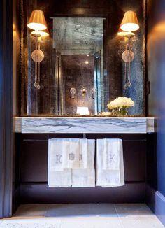 Jewel Boxes: 30 Glitzy and Glamorous Powder Rooms Decoration Inspiration, Bathroom Inspiration, Design Inspiration, Design Ideas, Design Trends, Decor Ideas, Powder Room Vanity, Powder Rooms, Mirror Powder