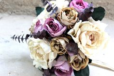Naturel color purple, cream, beige, ivory autumn, fall bridal bouquet on Etsy, $275.00
