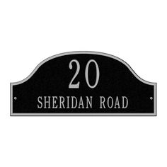 Admiral Standard Arch Black/Silver Wall Two Line Address Plaque