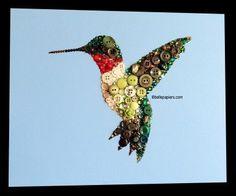 Ruby Throated Hummingbird #buttons #hummingbird #button #art