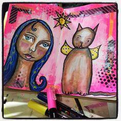 Tonight's art journaling. #whimsical #mixedmedia #artjournal #irisimpressionsart