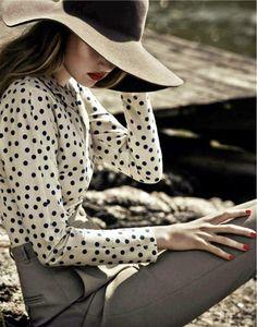 polkadot blouse and maxi hats