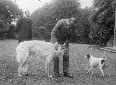"Grand Duke Mikhail Alexandrovich Romanov of Russia with his beloved terrier,Jack and a Borzoi. ""AL"""