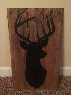 Rustic hand painted Deer Silhouette pallet sign on Etsy, $25.00