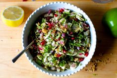 brussels sprouts, apple and pomegranate salad – smitten kitchen Things I Learned Hosting My First Friendsgiving On logistics Shaved Brussel Sprouts, Brussel Sprout Salad, Brussels Sprouts, Diabetic Recipes, Vegetarian Recipes, Healthy Recipes, Healthy Food, Vegetarian Thanksgiving, Gastronomia