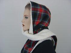 Kapuzenschals - Unisex Kapuzenschal Kim Bio-Baumwollplüsch Karo - ein Designerstück von hofatelier-mode bei DaWanda