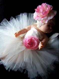 Ivory Satin Portrait Tutu Dress Set newborn 0 3 by CHICLILLOVEBUGS, $42.95