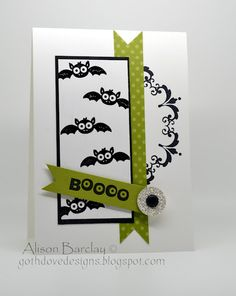 Black, green, & white Halloween--uses Stampin Up's googly ghouls stamp set and daydream medallion stamp set.