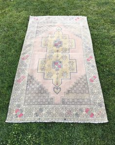 """Muted Oushak Rug with Perfect Pops of Pink,Unique Decor Vintage Rug 4'3""""x7'10"""" 