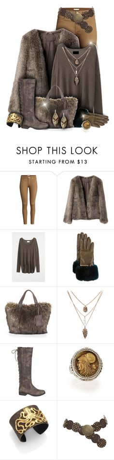 """Brown Winter Fur Outfit"" by superstylist ❤ liked on Polyvore featuring H&M, Zadig & Voltaire, Valentino, sherry cassin, maurices, Konstantino, IaM by Ileana Makri and Robert Rose"