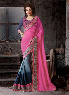 This season your look gets better definition with just a little attention to detail. Keep ahead in fashion with this grey and pink silk and georgette designer saree. The embroidered, patch border and ...