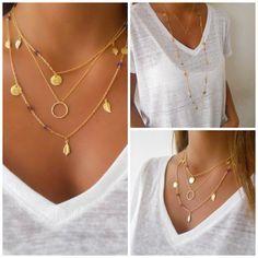 Oro en capas collar conjunto Anillo piedra amatista por annikabella