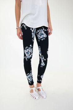 Lexington Leggings - Black and White Floral