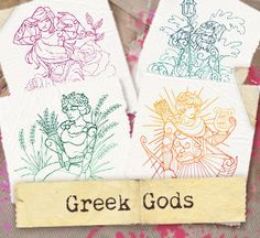 Craft epic stitches with intricate, colorful designs inspired by Greek gods and goddesses!