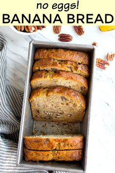 Eggless banana bread in a loaf pan. This recipe is sweetened with honey, and uses applesauce instead of eggs! Optional wheat germ and crunchy pecans. #eggless #bananabread #eggfree #noeggs #bakingwithouteggs #egglessbananabread via @dessertfortwo