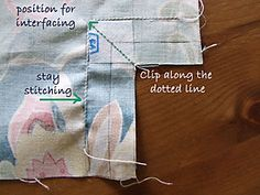 Girlie Bag Step 1 Clip and Stay Stitch copy Diy Purse, Best Relationship, Wooden Handles, Purses And Bags, Applique, Quilts, Stitch, Sewing, Bag Making
