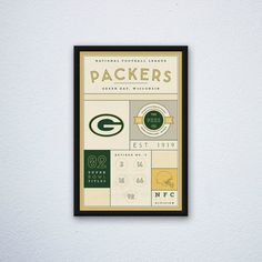 Green Bay Packers Stats Print by DesignsByEJB on Etsy
