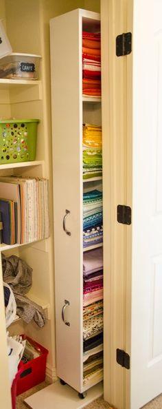 Roller Fabric Storage Shelf. Use IKEA Billy bookshelf, add wheels and pull handles...