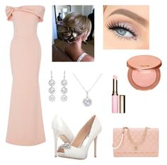 """""""Formal Dinner"""" by mhussain6 on Polyvore featuring Christian Siriano, Badgley Mischka, Clarins, tarte, Chanel, Andrea Fohrman and EWA"""