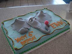 1/2 sheet cake with horton hears a who theme.  Fondant elephant, buttercream frosted cake