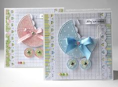 use circle die for pram and cut out a section, put narrow lace behind the cut out, tiny circles for the wheels