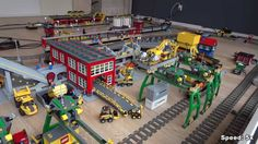 LEGO Train Track Setup Featuring Passenger and Cargo Trains with ...