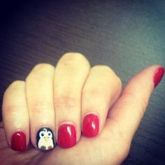 The cutest Christmas accessory! Penguin nail art on a GELeration mani.