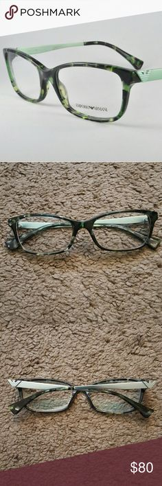 Green Havana Emporio Armani Eyeglass Frames Emporio Armani Eyeglass Frames EA 3031 5227 Green Havana. Size is 53-17-140. Comes with soft case. Great condition, some signs of wear but nothing noticeable. Always kept in case when not worn. Emporio Armani Accessories Glasses