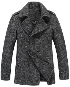 Amazing Mens Thick Wool Blend Casual Double Breasted Pea Coat Da, Menswear Fashion Apparel