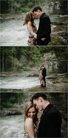 What to wear for couples photos: a black coat and black pants with a dark red shirt for him, plus a fun patterned red and cream colored dress for her. Photos by Katy Weaver Engagement Photo Outfits, Engagement Photos, Cream Color Dress, Red Shirt, Cool Patterns, Dark Red, Black Pants, Tennessee, What To Wear