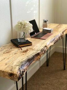 Live Edge Table / Live Edge Desk / Live Edge Sofa Table / Desk If youve got som. - furniture - Live Edge Table / Live Edge Desk / Live Edge Sofa Table / Desk If youve got something in mind that - Diy Furniture Table, Live Edge Furniture, Couch Furniture, Diy Table, Rustic Wood Furniture, Diy Wood Desk, Furniture Stores, Diy Desk, Furniture Plans