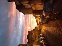 Beautiful sunset. Streets of Edinburgh