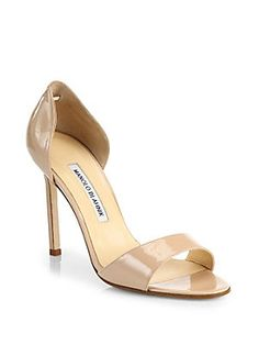 Manolo Blahnik Catalina Patent Leather D'Orsay Sandals