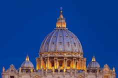 Dome of Basilica San Pietro Just before dawn, Vatican, Rome Italy