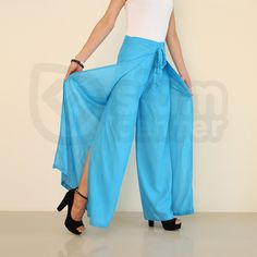 Get your FREE online store ready today!  Shop The Blue COPPER BROWN WOMENS WRAP WIDE-LEGGED PANTS http://bit.ly/1EvgxzB #pants #women
