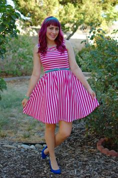 The lovely Jessica of Midwest Muse alerted me that this gorgeous dress. Ashley Clothes, 4th Of July Outfits, Love Culture, Dye My Hair, Handmade Dresses, Ruched Dress, Stripe Skirt, Purple Hair, Southern California