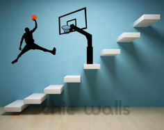 Michael Jordan Jumpman Dunk Silhouette Wall Decor Decal Sticker Mural Art Part 91