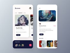 Art Gallery App designed by Zuairia Zaman for Ofspace Team. Connect with them on Dribbble; Ui Design Mobile, App Ui Design, Interface Design, Android Design, Wireframe, App Design Inspiration, Mobile App Ui, Ui Web, Behance