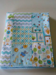 Baby Boy Minky Patchwork Quilt Blanket Free by KristensCoverlets, $59.00