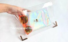 Transparent Clutch Transparent Bag PVC plastic Clutch - Purse - wallet - with Holographic Pouch Leather Clutch Leather bag on Etsy, $9.90