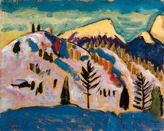 Sonnenuntergang 1924   Gabriele Münter, Germany 1877-1962   oil on canvasboard 33 x 40cm.