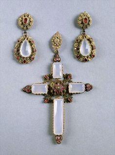 Jewelry of Caroline Bonaparte. Cross pendant and earrings ~ gold! rubies! and chalcedony.