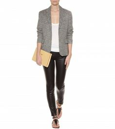 Urban Outfitters Grey Jacket, Leather leggings.  The Row - Roger jersey tank top - mytheresa.com GmbH