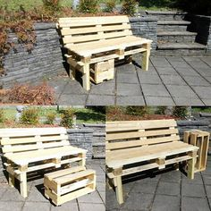 Euro pallets into bench with lean back. Footrest with castor wheels dbls as coffee table and side table. Jeremy Whyte