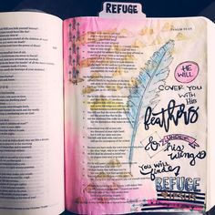 "My very first page. I feel like I can breathe now. I was so nervous and anxious about painting  drawing in my Bible! I mean I didn't want to mess up God's word!! I took a deep breath and I dove into Psalm 91:4 ""He will cover you with His feathers and under his wings you'll find refuge."" We had this verse hanging in our old home and it just resonates with me. It is wonderful to know our father is always there to protect us regardless of the circumstances or any wrong doings. His love has no…"