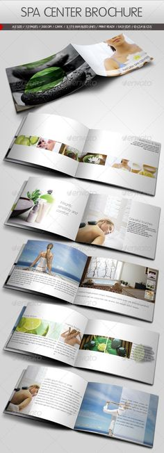 Spa Center Brochure Template  Modern minimal brochure template for wellness & spa centers or hair treatment, massage etc. Easy to change text, document guide included as well.