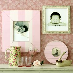Pretty soft pink for a little girls room. Mix up rectangular frames with round and square frames for a playful look! Colorful Picture Frames, Handmade Picture Frames, Collage Picture Frames, Little Girl Rooms, My Little Girl, Cottage Style Furniture, Wall Groupings, Ivy Style, Kitchen Pictures